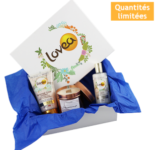 BOX COCO COCOONING Une boîte cadeau Lovea Un gommage corps coco bio Une huile coco bio Une bougie crépitante Merveille Bijoux Coco