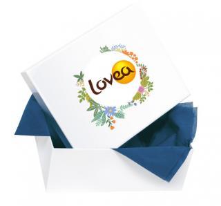 Boîte cadeau ouverte avec papier de soie bleu